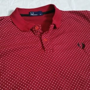Fred Perry   Fitted Red Polka Dot Polo